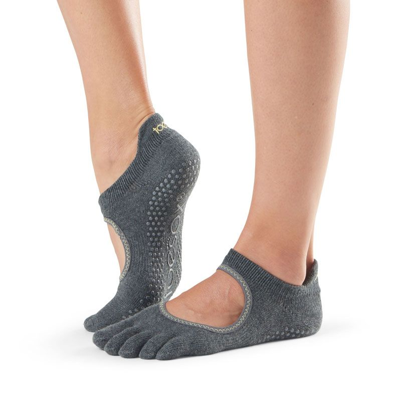 Chaussettes Pilates Toesox® FT Bellarina Charcoal Grey Lime | Chaussettes Pilates antidérapantes