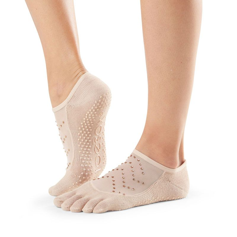 Chaussettes antidérapantes Pilates Toesox® FT Luna Nude | Chaussettes Toesox®
