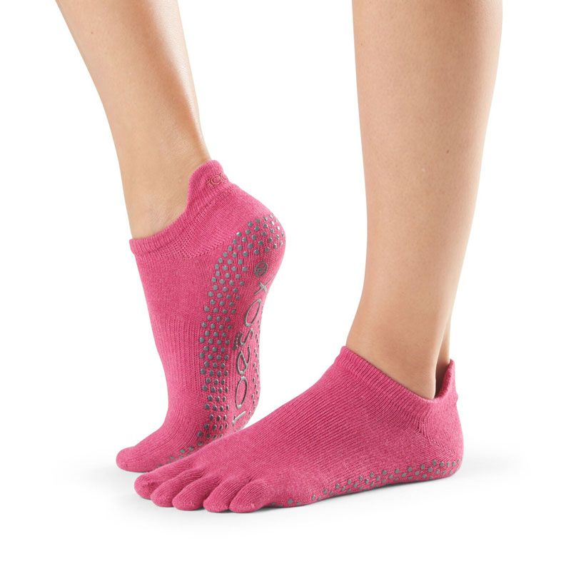 Toesox® Full Toe Lowrise Raspberry | Chaussette antidérapante pilates | toesox