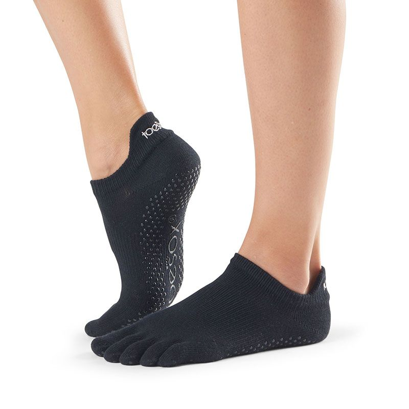 Chaussettes pilates Toesox® Full Toe Lowrise Noir | chaussettes antidérapantes pilates