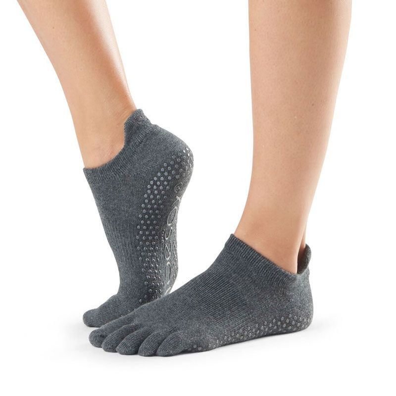 Chaussettes pilates Toesox® Full Toe Lowrise Charcoal Grey | chaussette antidérapante pilates