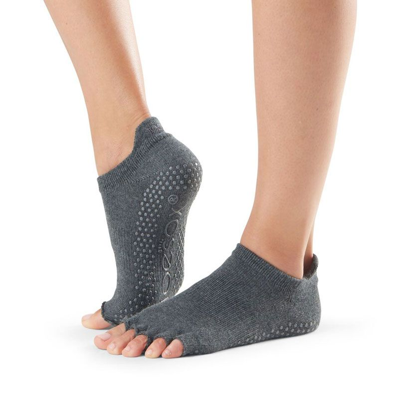 Chaussettes antidérapantes Pilates Toesox® Half Toe Lowrise Charchoal Grey   Chaussettes toesox