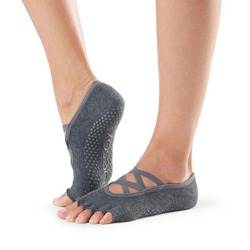 Chaussettes Pilates Toesox® Half Toe Elle Charcoal Grey | Chaussettes antidérapantes Pilates