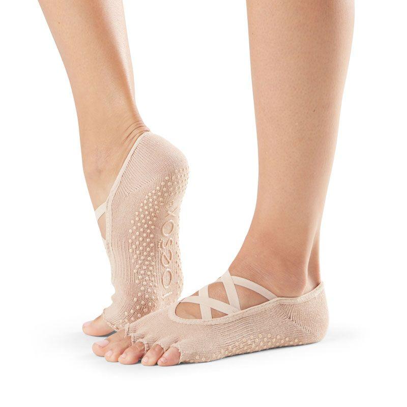 Chaussettes Pilates Toesox® Half Toe Elle Nude | Chaussettes antidérapantes Pilates