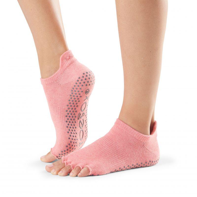 Chaussettes antidérapantes Toesox® Half Toe Lowrise Melon | Chaussettes yoga