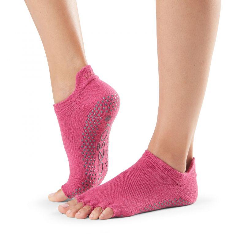 Chaussettes antidérapantes Toesox® Half Toe Lowrise Raspberry | Chaussettes antidérapantes
