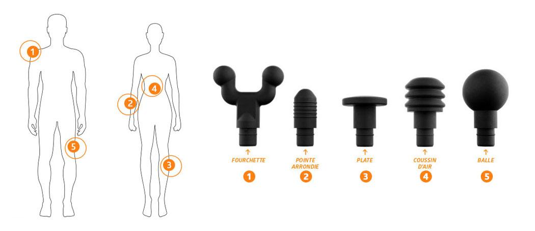 5 exemples de zones de massage avec l'hypervolt